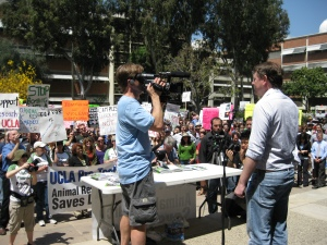David Jentsch at the UCLA Pro-Test rally