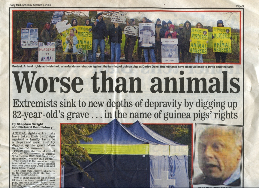 Daily Mail (UK) - October 9th 2004 - Animal Rights Extremists dig up the grave of Gladys Hammond