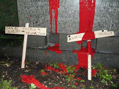 The ALF desecrated the graves of Daniel Vasella's family, leaving a chilling warning