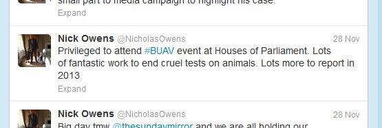 Nicholas Owens Twitter - BUAV