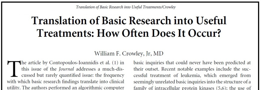 Crowley - Translation of Basic Research into Useful Treatments How Often Does It Occur
