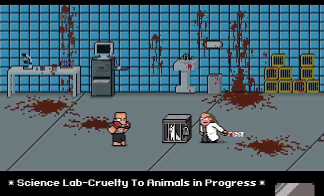 PETA's MMA game depiction of animal research.
