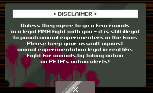 PETA Mixed Martial Arts Game Disclaimer