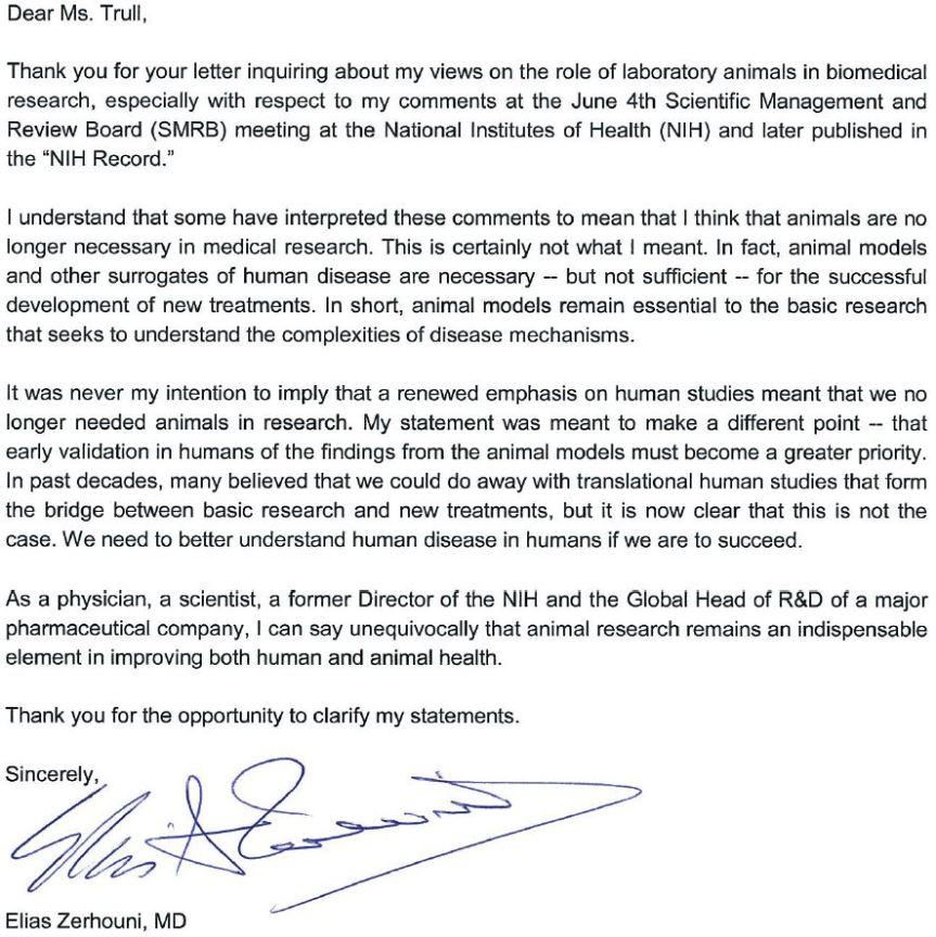 Zerhouni letter