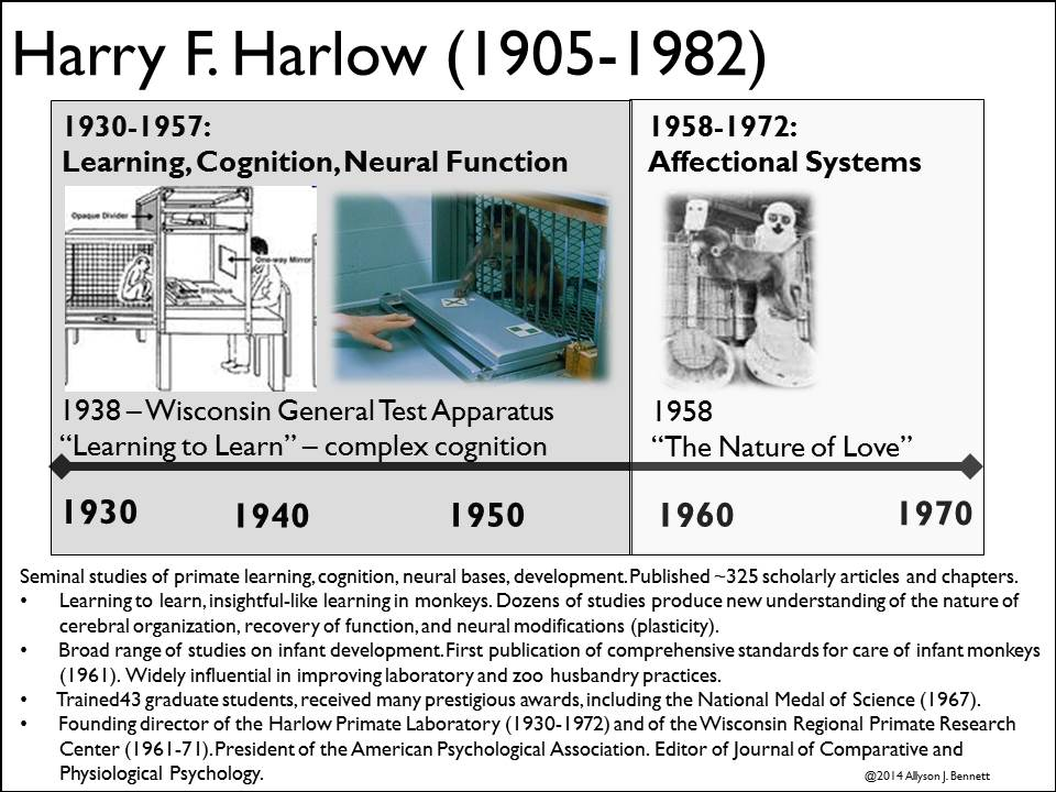 harry harlow personal history psychological perspective From 1957 through the mid-1970s, john bowlby, one of the founders of attachment theory, was in close personal and scientific contact with harry harlow in.