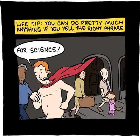 "Remember to shout ""For Science!"" when clicking the Tweet this button. Cartoon by Saturday Morning Breakfast Cereal"