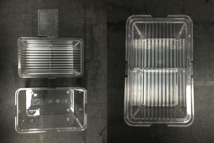 Zebrafish mating tank with removable separation before and after assembly.