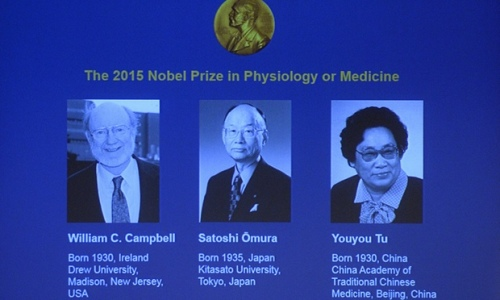 Portraits of the winners of the Nobel medicine prize, shown on a screen at the ceremony in Stockholm. Photograph: Jonathan Nackstrand/AFP/Getty Images