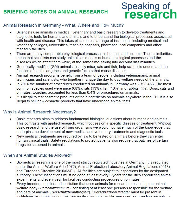 Briefing note on animal research in Germany