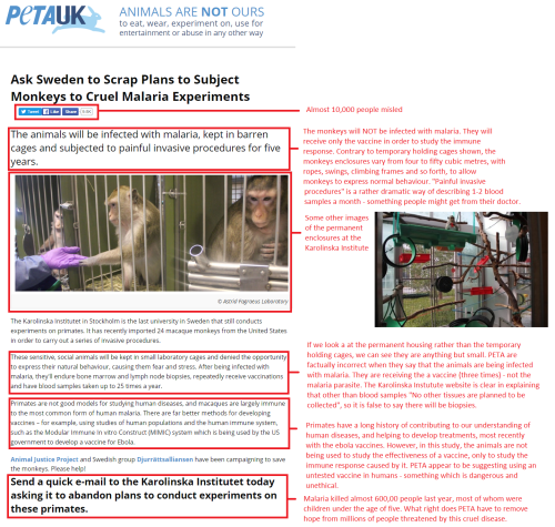 PETA getting it wrong about the Karolinska. Click to Enlarge