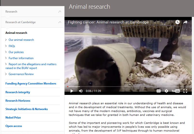 Cambridge University animal research
