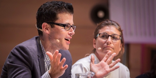 James Bourne at the IQ2 debate. Image from www.ethics.org.au