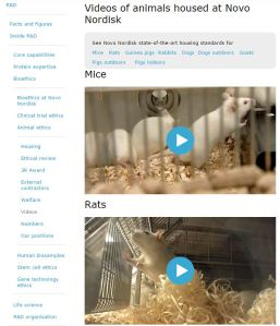 Novo Nordisk website providing videos of its research animals and facilities