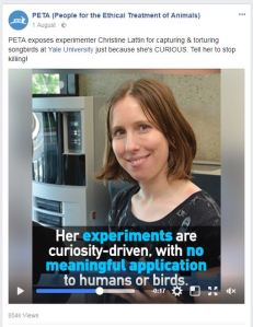 PETA Facebook post on Christine Lattin